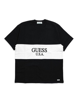 GUESS GREEN LABEL(ゲス グリーンレーベル)/ 2TONE TEE -BLACK-