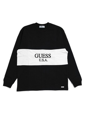 GUESS GREEN LABEL(ゲス グリーンレーベル)/ 2TONE LS TEE -BLACK-