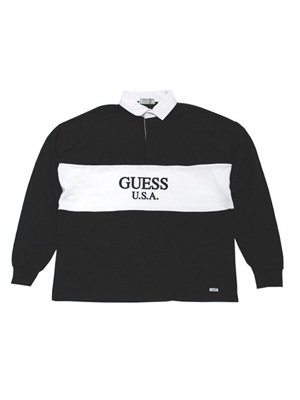 GUESS GREEN LABEL(ゲス グリーンレーベル)/ 2 TONE RUGBY SHIRT -BLACK-