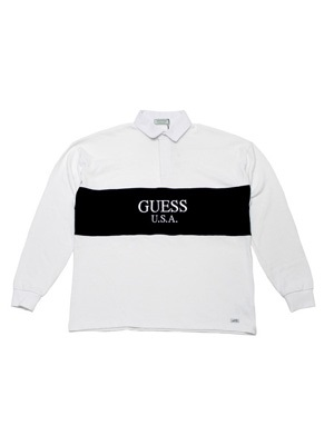 GUESS GREEN LABEL(ゲス グリーンレーベル)/ 2 TONE RUGBY SHIRT -WHITE-