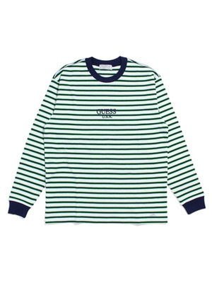 GUESS GREEN LABEL(ゲス グリーンレーベル)/ LIME BORDER LS TEE -NAVY-