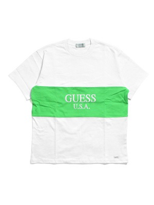 GUESS GREEN LABEL(ゲス グリーンレーベル)/ 2TONE LIME TEE -WHITE-