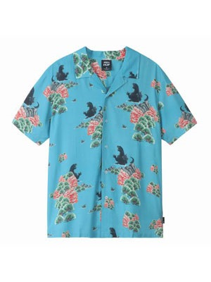 HUF(ハフ)/ GODZILLA RESORT SHIRT -BLUE-